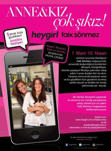 """f9cf13fc51696 Heygirl Dergisi ve Faik Sönmez Mağazaları işbirliğiyle yapılan """"Anne - kız  çok şıkız"""" yarışması başladı. Her şeyin en güzelini hakeden annelere en şık  ..."""